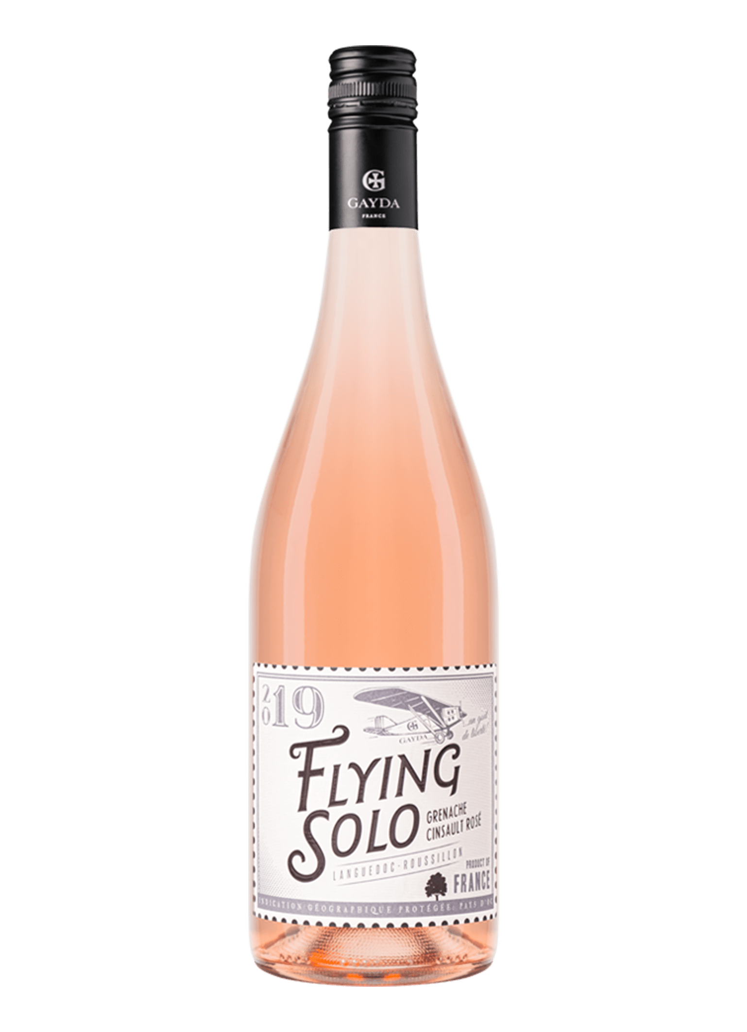 Wijnfles Flying solo rose